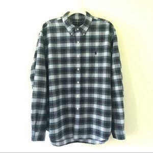 Ralph Lauren Blue Plaid Button Down Shirt | XXL